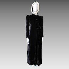 Opera Coat Hooded Black Velvet with White Rabbit Fur Trim