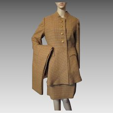 Handsome Tattersall 1970 Era Set Riding Jacket, Skirt and Slacks in Fall Tones of Cumin with Blue and Orange Stripe Medium