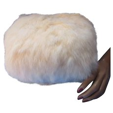 Fluffy White Rabbit Fur Muff Satin Lined for Winter Fashions
