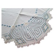 Pretty Embroidered Table Cloth with Blue Chain Stitch and White Daisies Cottage Style