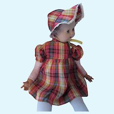 Large Baby Doll Dress & Bonnet Plaid Taffeta Red Green