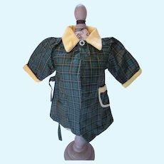 "Doll Raincoat Green Plaid Yellow Corduroy 12"" Chest"