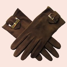 Wrist Length Gloves Chocolate Brown Suede Like Fabric Gold Buckle Fall Winter Gloves