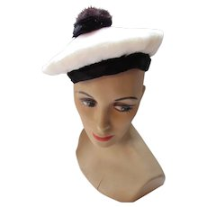 Vintage Beret or Tam in White Faux Fur with Black Fur Puff and Black Stretch Band