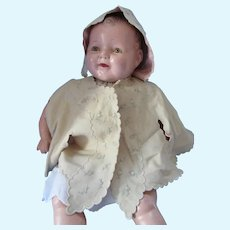 Doll or Infant Cape and Bonnet Flannel Embroidered Early 20th Century