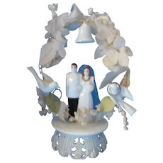 Mid Century Wedding Cake Topper He in White Tux She in Bridal Gown with Veil Arch with Doves, Bell and Rings