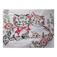 Embroidered Runner Dresser Scarf Kitties with Bow Ties