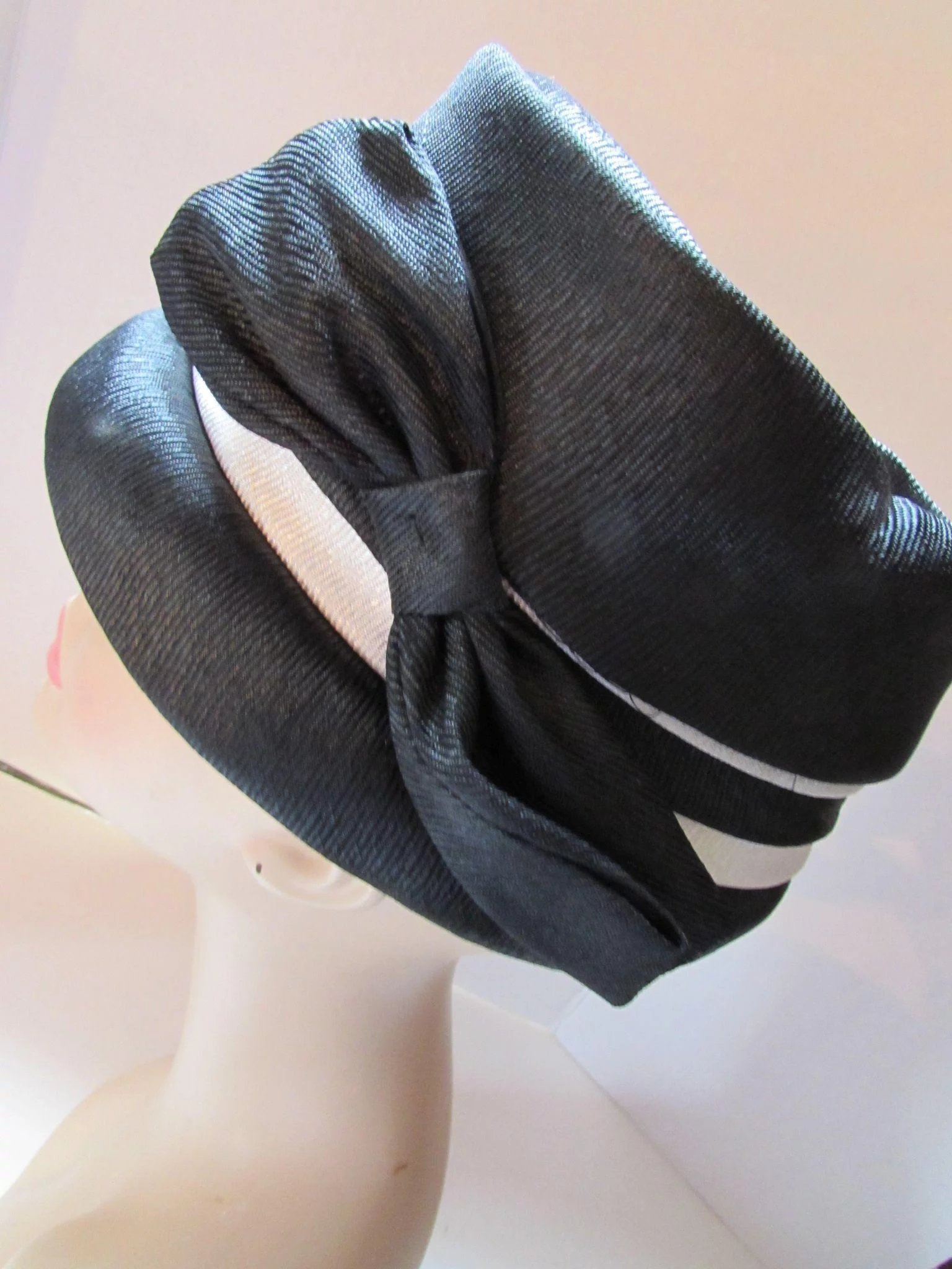 Black and White High Crown Hat Mid Century Style Union Made