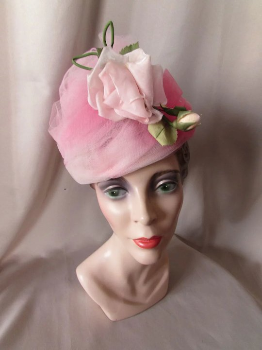 Vintage Hat in Swirls of Tulle Confectionery Cotton Candy Pinks with Huge  Rose  60 s 9606fc2ea5c