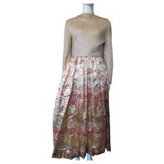 Gorgeous Evening Gown in Gold Lame and Metallic Moorish Design Skirt in Persimmon and Gold Size Small