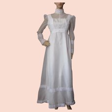 Victorian Style Wedding Dress in Pristine White with Lace Faux Pearls and PIntucking