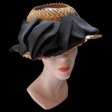 Mid Century Straw Hat with Open Crown and Black Faille Ribbon by Modern Miss