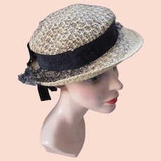"""Sweet Hat in Straw with Navy Band Bow """"Yearounder"""" Styled by Lish New York Creation Spring Hat Summer Hat"""