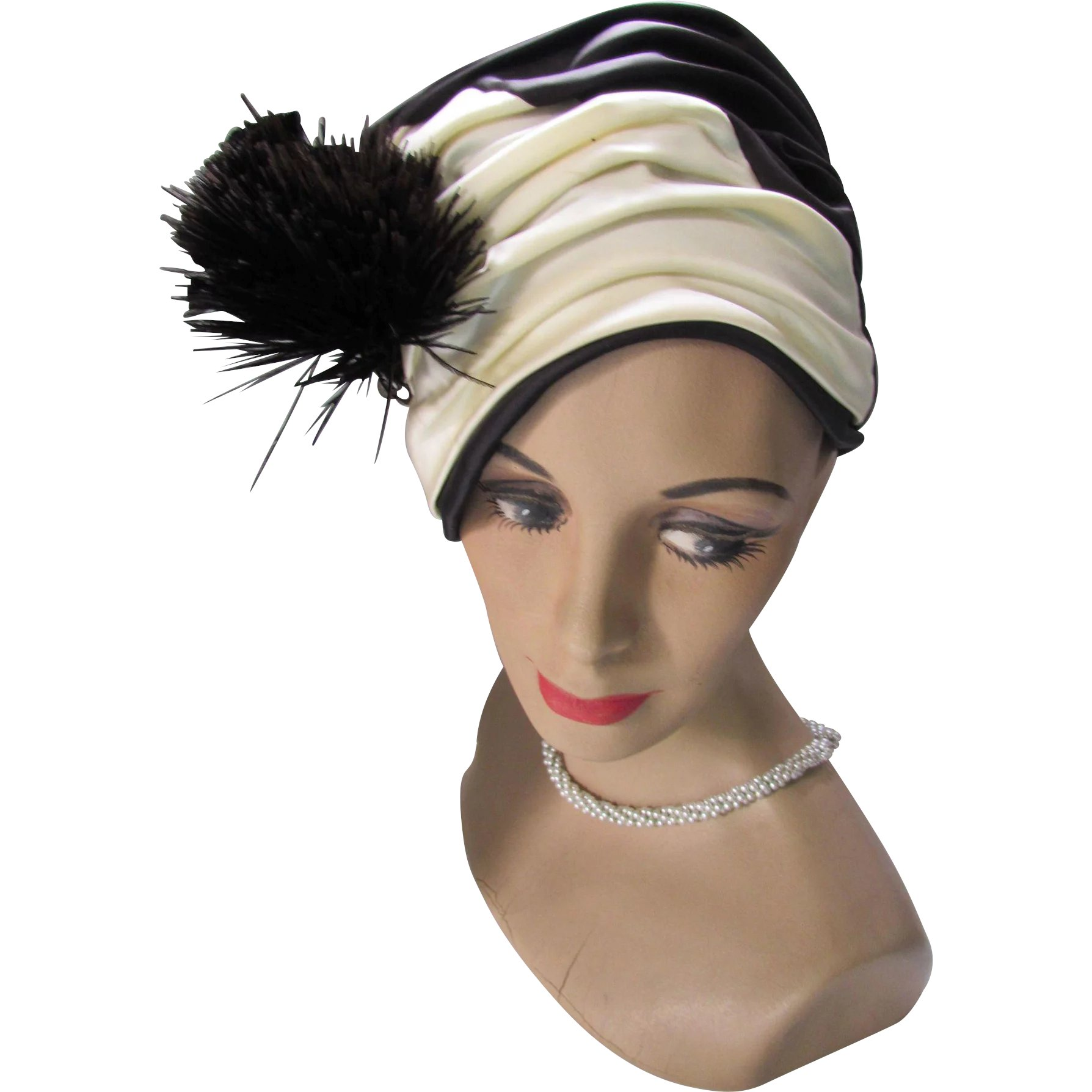 4e398749c1a88 Dramatic Turban Style Hat in Black and Cream Satin with Fan Feather    Maude s Vintage Ware