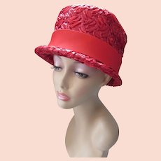 Cherry Red Bucket Hat in Woven Millinery Cellophane Marshall Field & Co 1960 Style