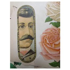 Pair Victorian Era Scrapbook Pages Colorful Trade Cards, Advertisements, Engravings, Lithographs Circa 1886