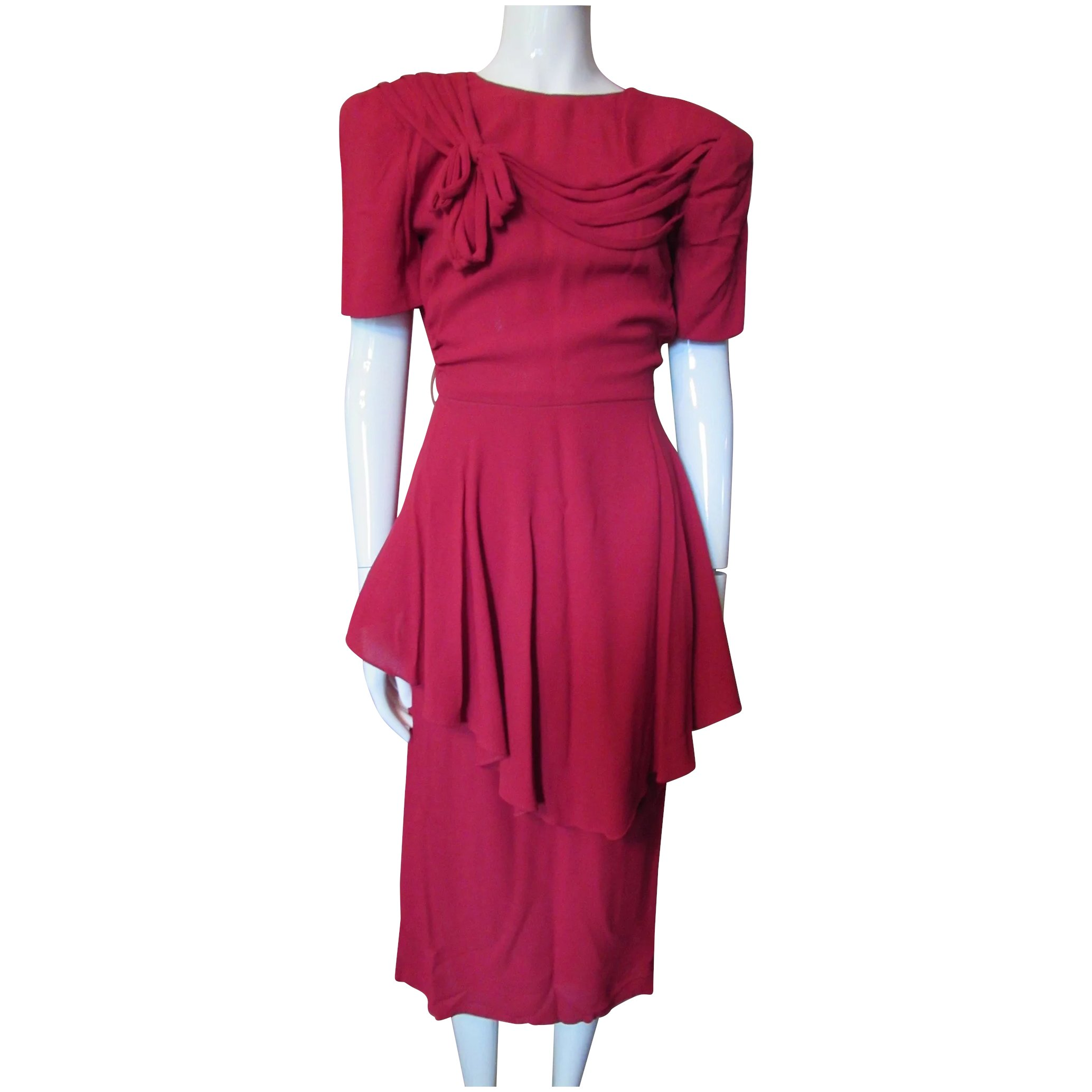 1940\'s Cocktail Dress in Lipstick Red Crepe with Peplum and Draped ...