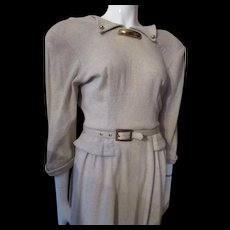 Classic Mid Century Office Dress in Oatmeal Tone Knit by Junior Fashions Carole King
