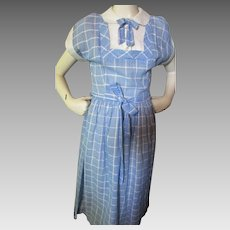 Sweet 1950 Era Summer Day Dress in White Pique and Blue Plaid Size Small