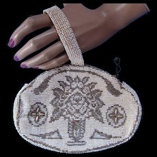 Beaded Clutch Purse Romantic Style Flower Bouquet Made in Czechoslovakia