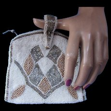 Vintage Beaded Evening Purse Clutch Style in Faux Pearl and Silver Geometric Design Made in Belgium