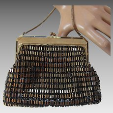 Whiting Davis Evening Purse in Gold and Black Mesh and Gold Tone Frame