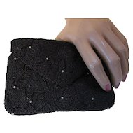 Black Beaded Evening Clutch Purse with Faux Pearls Small Size