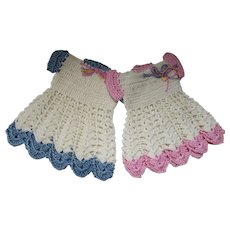Pair Sweet Hand Crochet Dresses Doilies or Doll Clothes Pink & Blue