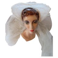 Vintage Wedding Veil 1940 Era Flared Coronet and Double White Net