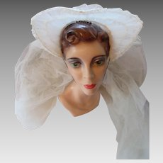 Vintage Wedding Veil 1940 Era Flared Coronet and Double White Net