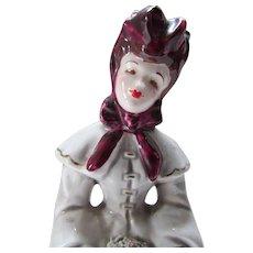 Florence Ceramics Figurine Elaine in Gray and Maroon Mid Century Pasadena California