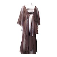 Renaissance Style Flowing Long Gown in Chocolate and Cream Chiffon