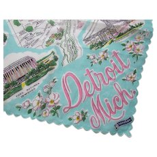 Vintage Handkerchief Detroit Michigan in Turquoise and Pink Landmarks and Map Framishaw Free Shipping USA