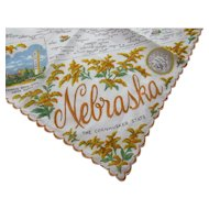 Vintage Nebraska Souvenir Handkerchief Cornhusker State with Map and Landmarks 1950's Free Shipping USA