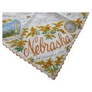 Vintage Nebraska Souvenir Handkerchief Cornhusker State with Map and Landmarks 1950's Free Shipping USA