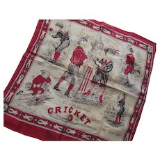 Child's Handkerchief in Turkey Red and Black At Play Cricket with Victorian Era Children in Play Poses
