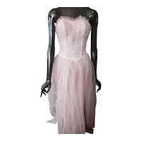 Prom Dress 1950 Era Pink Tulle & Satin