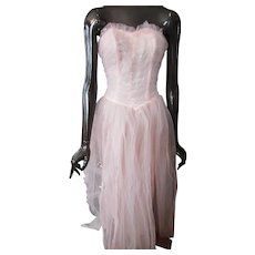 Prom Dress 1950 Era Pink Tulle & Satin
