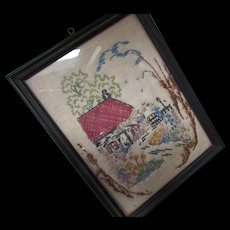 Cottage Style Vintage Hand Embroidered on Linen Home and Garden Scene Framed