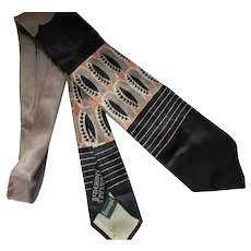 Men's 1950 Era Tie in Black, Peach, Pewter Ovals by Donegal McNeany's Men's Store Rockford