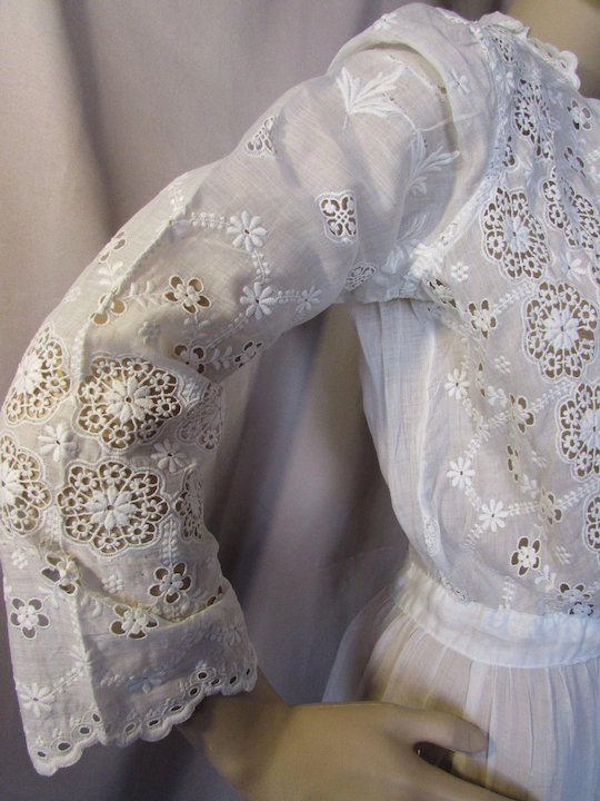 16e6ebedf9c Edwardian Gibson Girl White Summer Dress with Intricate Embroidery ...