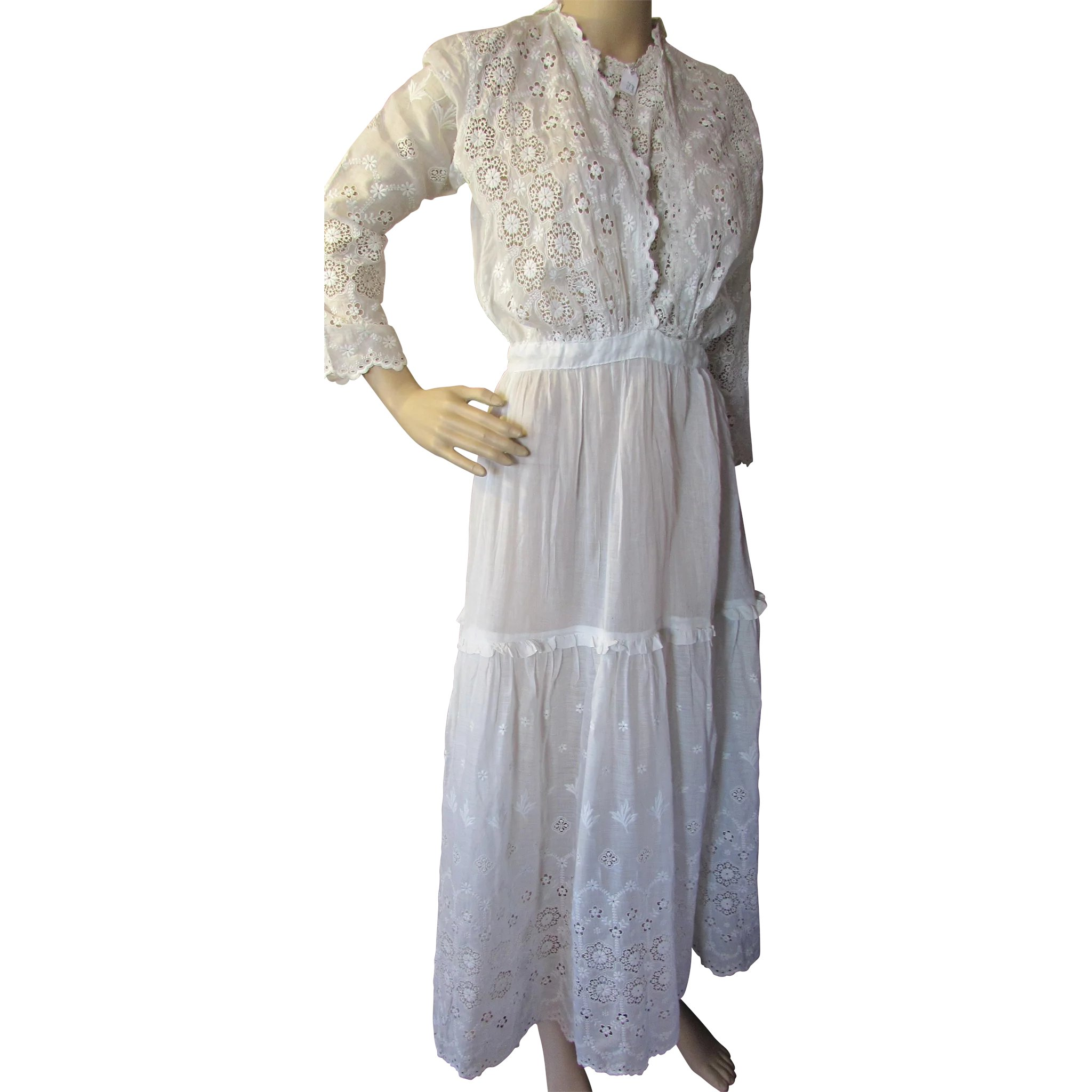 f6f50204f6a Edwardian Gibson Girl White Summer Dress with Intricate Embroidery    Maude s Vintage Ware