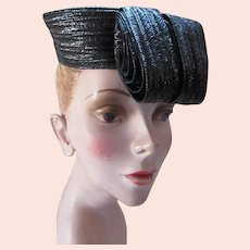 Unusual Black Woven Tilt Hat Rolled Circles Gage Hats Stella Mae Hat Shop