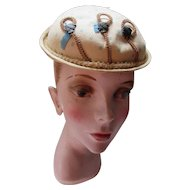 Early Victorian Era Small Hat in Beige Cotton Woven Edging Inside:Metal Cameo Charms: Native American Label