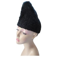Black Faux Curly Lamb  Peaked Winter Hat