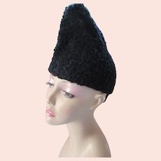 Black Faux Curly Lamb  Peaked Winter Hat