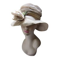 Mid Century Wide Brim High Crown Hat in Champagne Organdy Pleats Satin Rose Norman Durand