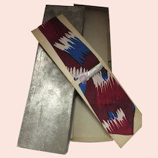 Neck Tie Father Tagged Gift Maroon Red Soldier Blue Original Box Mid Century