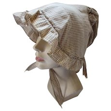 Brown Gingham Cotton Sunbonnet Old Fashioned Style As Is