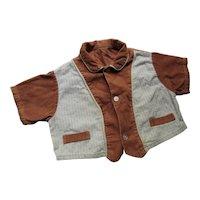 Infant or Large Doll Boy Corduroy Shirt Mid Century